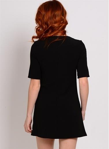 Glamorous Yakası Bağcıklı Mini Elbise Siyah